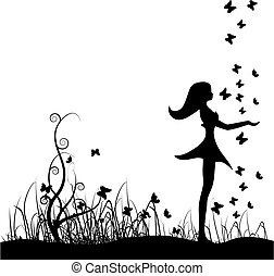 美しい, butterfli, 女の子, 牧草地