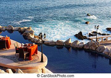美しい, cabo, mexico., スポット, 夕食, ロマンチック, san ルーカス