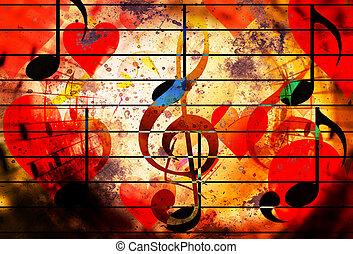 美しい, clefs, 愛, コラージュ, メモ, 音楽, 心, symbolizining, music.
