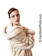 美しい, coat., 女の子, 毛皮