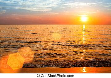 美しい, composition., 自然, 上に, 海洋, 日没