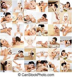美しい, cupping., ボール, spa., collection., concept., 心配, 暑い, 健康, 治癒, 真空, 薬, 石, マッサージ, マッサージ, 女性