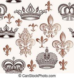 美しい, de, seamless, 王冠, 手, 背景, lis, fleur, 刻まれる, style.eps