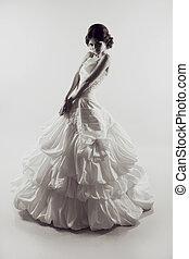 美しい, dress., 女, photo., light., 背中, 花嫁, ファッション, 結婚式, sensual