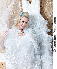 美しい, dress., tries, 女, 結婚式