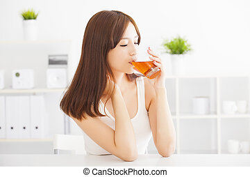 美しい, drinkin, 女, 若い, アジア人