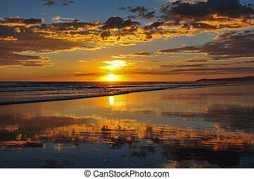 美しい, el, 日没, サルバドール, playa, cuco