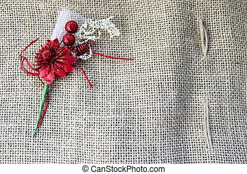 美しい, fabric., 花, 古い, ブラウン, 繊維, 材料, 交差, 手ざわり, 垂直である, リンネル, 緑, 人工, 布, 自然, 荒い, 茎, 赤
