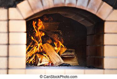 美しい, fireplace., 火