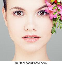 美しい, flowers., 女, クローズアップ, 顔