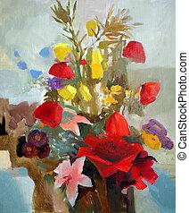 美しい, flowers., 油絵