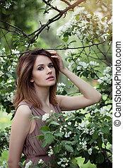 美しい, garden., 女, アップル, 春, 花, 背景, 屋外で, 女の子, 花