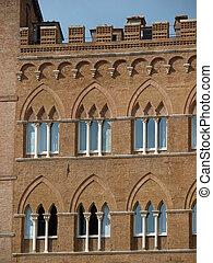 美しい, gothic, 窓, 中に, siena