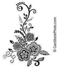 美しい, guipure, 白黒, 要素, embroidery., デザイン, イミテーション, 花, 花, 葉,...