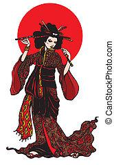 美しい, hairp, 女, 日本語