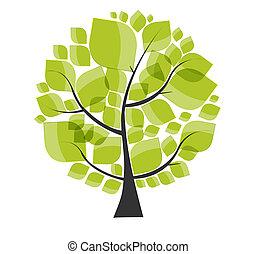 美しい, illustration., 木, ベクトル, 緑の背景, 白