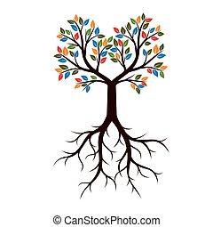 美しい, illustration., 色, 木, leaves., ベクトル, 定着する
