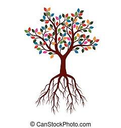 美しい, illustration., 色, 木, leaves., ベクトル