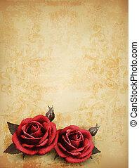 美しい, illustration., buds., ばら, ベクトル, レトロ, 背景, 赤