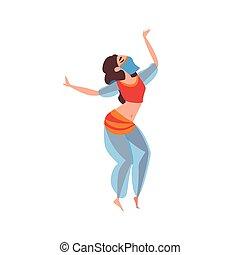 美しい, indian, 東, ダンサー, ダンス, 特徴, ダンス, イラスト, 伝統的である, ベクトル, 東洋人, 腹, 女の子, ベール, ∥あるいは∥, アラビア, 衣装