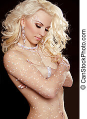 美しい, jewelry., ファッション, ブロンド, 巻き毛, beauty., 長い髪, make-up., 肖像画, 専門家, 女の子, woman.