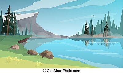 美しい, lanscape, 湖, 川, ∥あるいは∥, 池