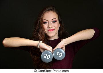 美しい, lifestyle., 健康, 年, 数, ダンベル, 手を持つ, 新しい, 女の子, 2019., 決断, コーカサス人