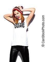 美しい, look.glamor, ファッション, カラフルである, beanie, 若い, 高く, 布, 唇, 女, 情報通, 流行, モデル, 赤