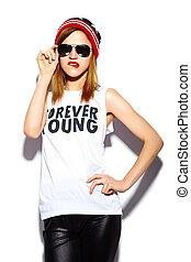 美しい, look.glamor, ファッション, サングラス, カラフルである, beanie, 若い, 高く, 布, 唇, 女, 情報通, 流行, モデル, 赤