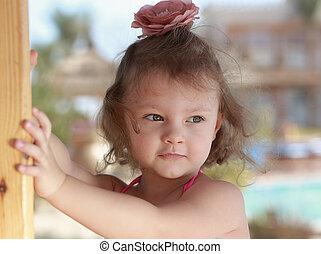 美しい, looking., 考え, クローズアップ, 肖像画, 女の子, 子供