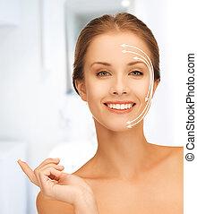 美しい, moisturizing, 低下, 女, creme