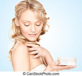 美しい, moisturizing, 女, creme