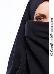 美しい, muslim, 女性の見ること, カメラにおいて