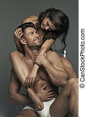 美しい, musular, 女, 彼女, 若い, 抱き合う, 夫