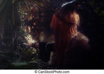 美しい, nature., ヘッドバンド, 女, shamanic