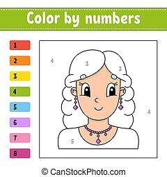 美しい, numbers., 色, 巻き毛, 女の子, 毛, character., illustration., worksheet., 活動, 微笑。, children., 漫画, ゲーム, ベクトル
