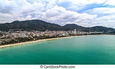 美しい, patong, 航空写真, phuket, 浜, 光景