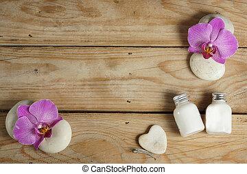 美しい, procedure., 石, 木製である, 装飾, 暑い, ローション, 体, flowers., 広がり, テーブル, エステ, 前に, から, マッサージ, 蘭