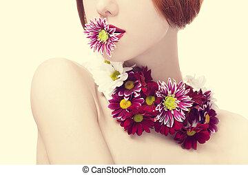 美しい, redhead, 女の子, 花
