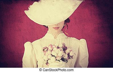 美しい, redhead, 花束, 女性