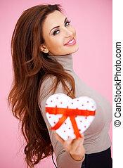 美しい, redhead, 贈り物, バレンタイン