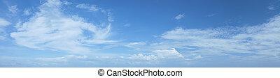 美しい, resolution., sky., 曇り, 高く, パノラマである, 構成