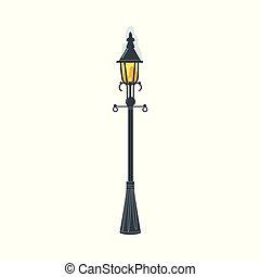 美しい, retro 様式, 通り ランプ, ランタン, 冬