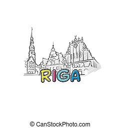 美しい, riga, sketched, アイコン