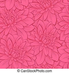 美しい, seamless, 背景, ∥で∥, flowers., hand-drawn, 輪郭, ライン, そして,...
