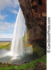 美しい, seljalandsfoss., 滝, iceland., 南