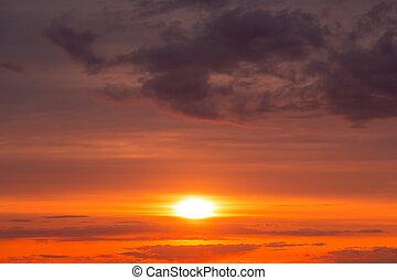 美しい, sky., 空, バックグラウンド。, 日没, fiery, オレンジ