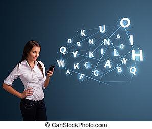 美しい, smartphone, 手紙, 若い, comming, 高く, 女, 技術, タイプ, 3d, から