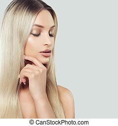 美しい, treatment., 女, きれいにしなさい, 彼女, 考え, 手。, 美しさ, 若い, 顔, 毛, 感動的である, 新たに, 美容術, 美顔術, 皮膚, エステ, ブロンド, 心配