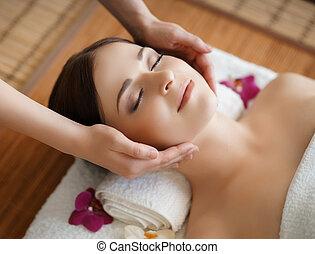 美しい, treatments., 女, 美しさ, 健康, 伝統的である, 若い, 東洋人, エステ, 療法,...